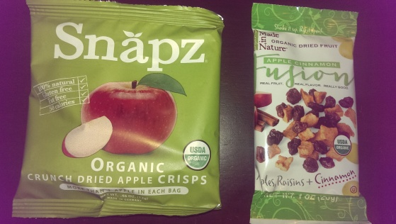 Snapz apple crisps (left) and Back to Nature fruit fusions (right)