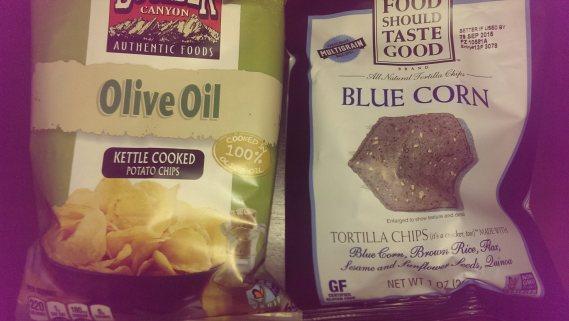 Boulder Canyon chips (left) and Food Should Taste Good chips (right)