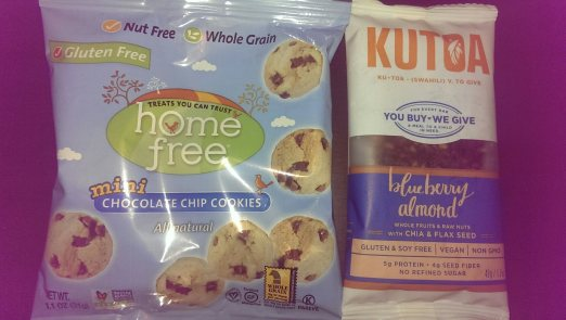 Home Free cookies (left) and Kutoa bar (right)