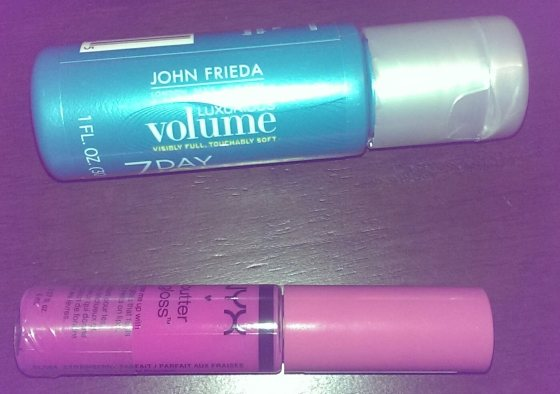 John Frieda volumizer (top) and NYX butter gloss (right)