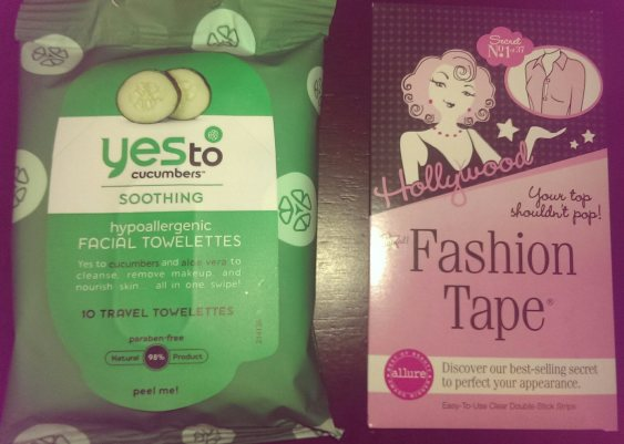 Yes to Cucumbers wipes (left) and Hollywood tape (right)