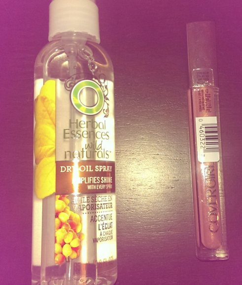 Herbal Essences dry oil spray (left) and CoverGirl lip gloss (right)