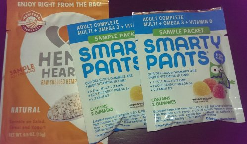 Manitoba Harvest hemp hearts and Smarty Pants vitamin gummies
