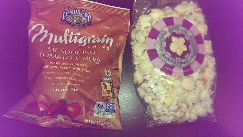 Lundberg multigrain chips and Rachel and Michael's gourmet popcorn