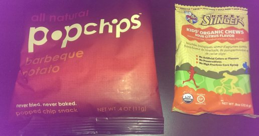 Pop Chips (left) and Honey Stinger fruit snacks (right)