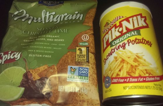 Lundberg chips and Pik-Nik fries