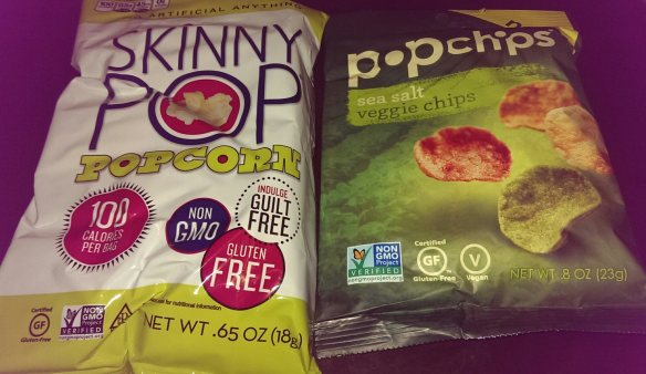 Skinny Pop popcorn and Pop Chips veggie chips
