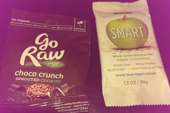 Go Raw cookies and SMART bar