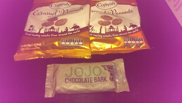 caramel almonds and Jo Jo Bar